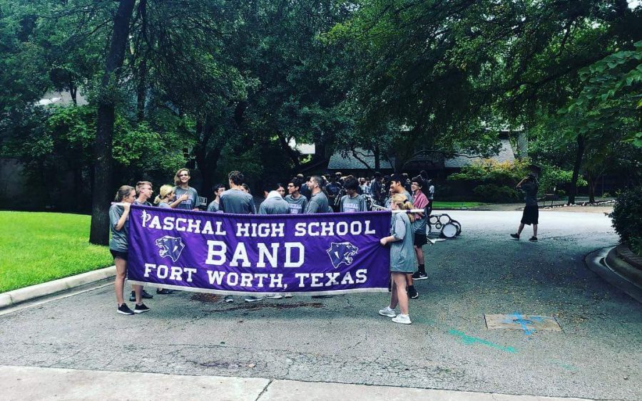 Paschal band marches through inclimate weather.  Photo courtesy of Paschal Band Facebook Profile.