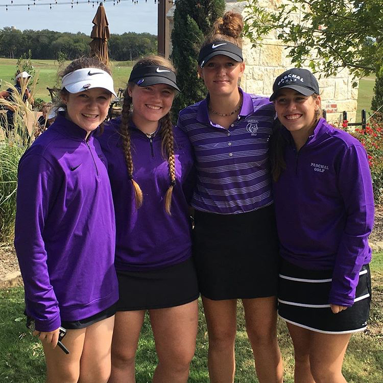 2017-2018 School year girls varsity golf team; (from left to right) Ashleigh Nader, Cami Englebert, Mallory Franke, Helena Howard