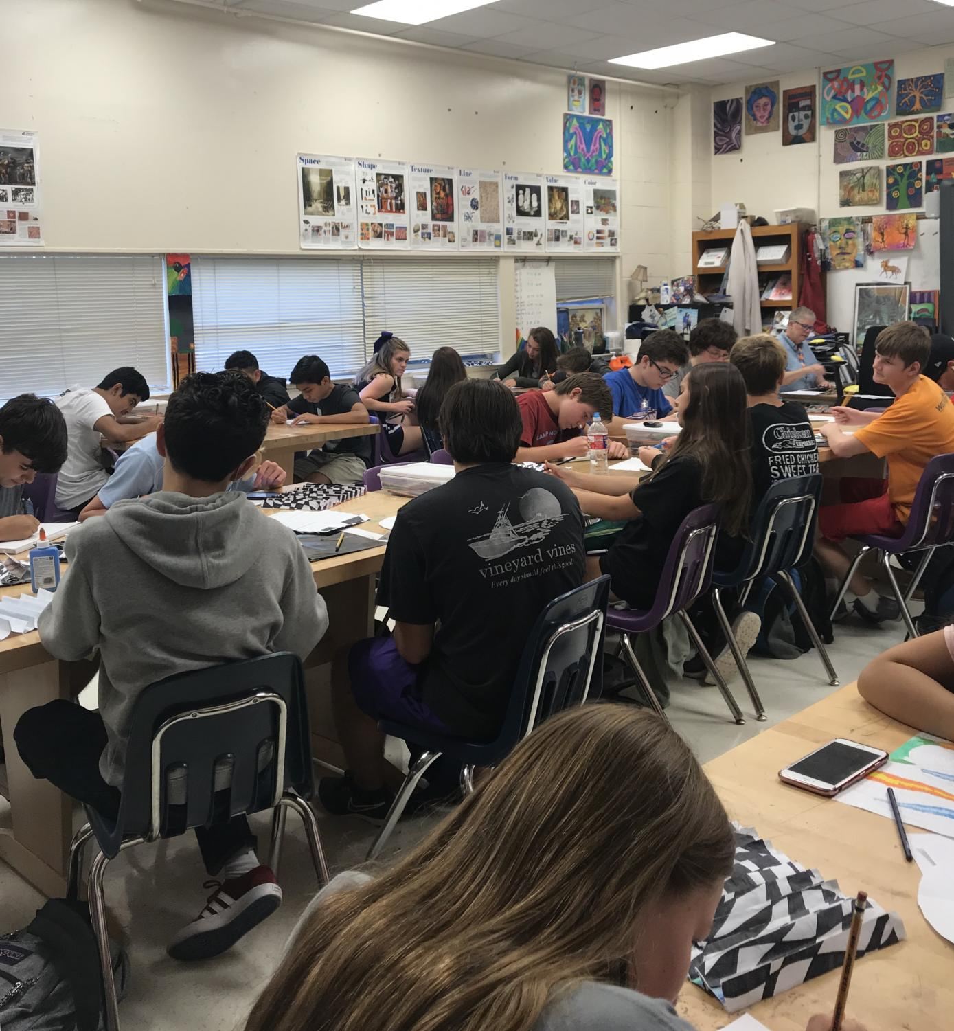 Mrs. Hudson's Honors Art 1 class overcrowded with 36 students.