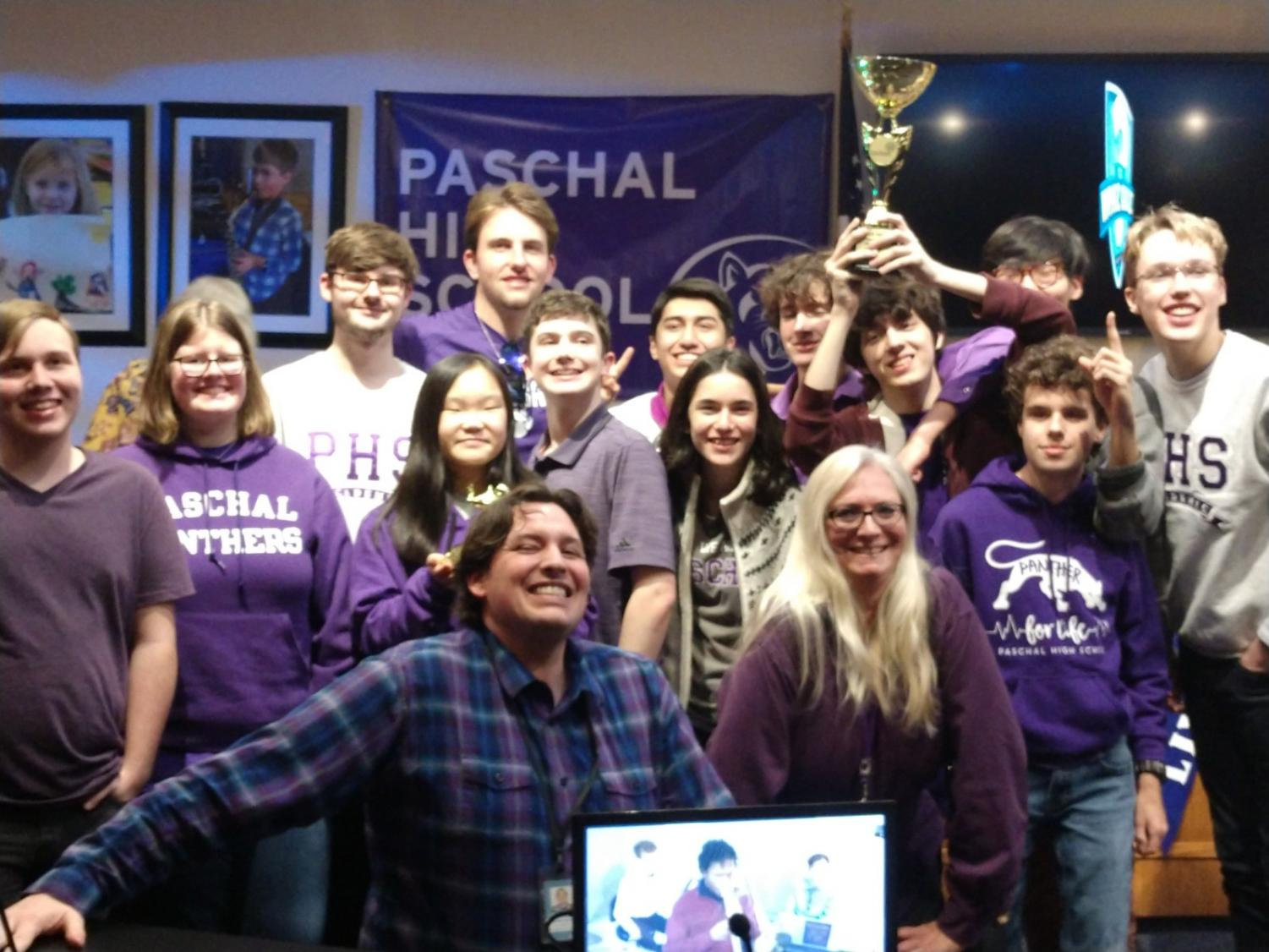 Paschal Whiz Quiz team with sponsors Mr. Haley and Ms. Green