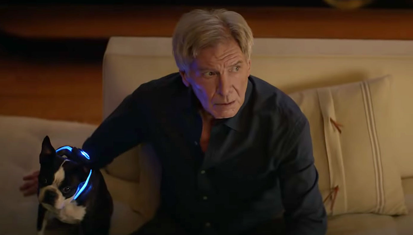 Harrison Ford and dog in Amazon Alexa commercial