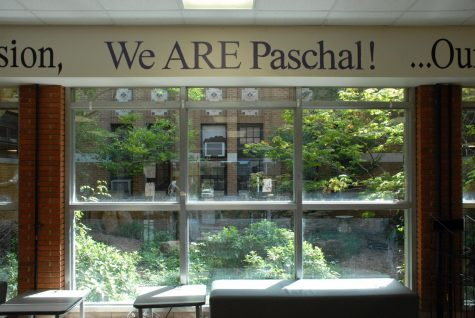 The current view of the atrium from the Paschal foyer, when entering through the front of the school.