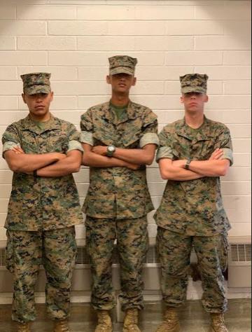 Class of 2019 Marines: Jesus Jimenez, Sahish Shretha. and Dakota Colvin.