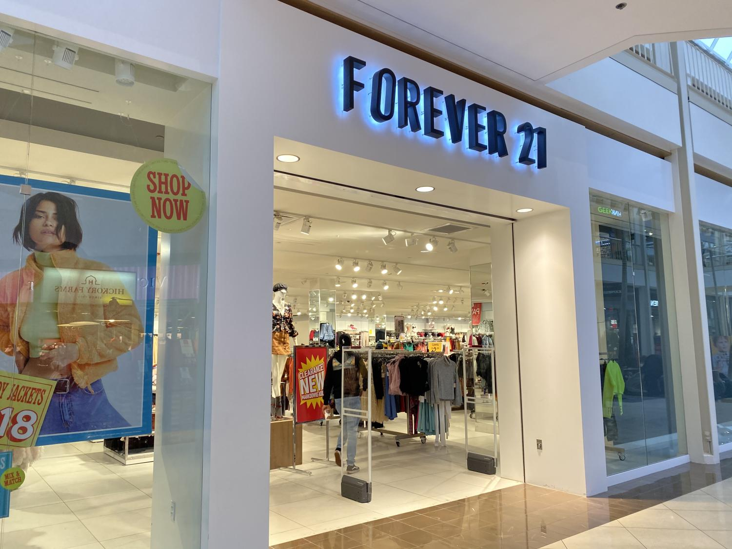 Forever 21 entrance at the Hulen mall, still open and operating after bankruptcy filing.