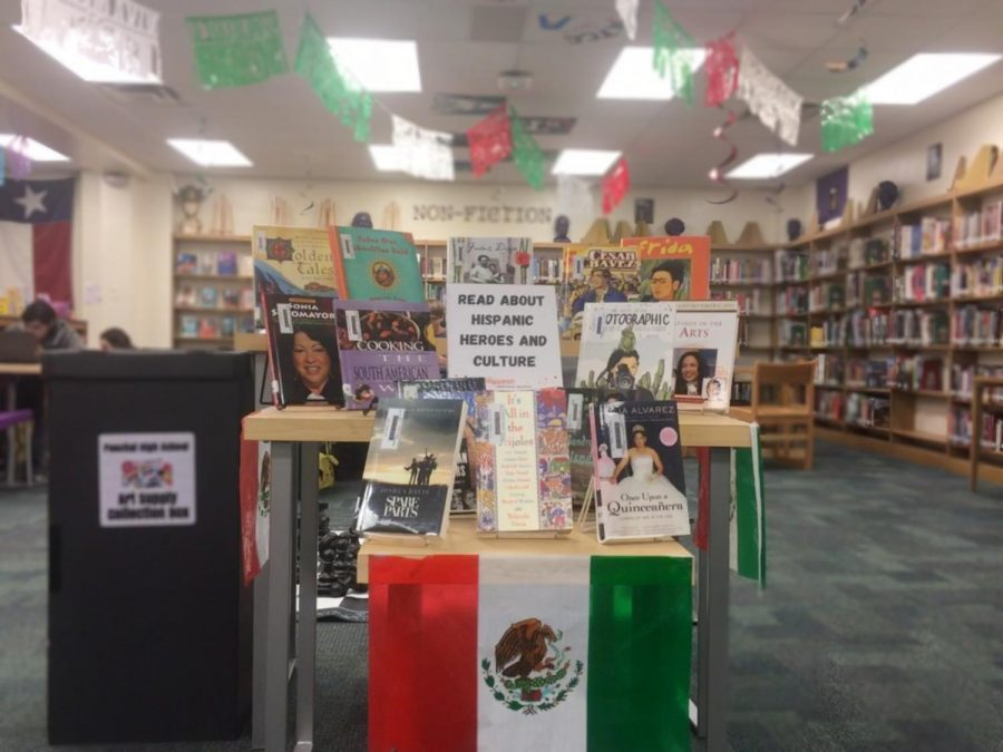 Library display for national hispanic heritage month.
