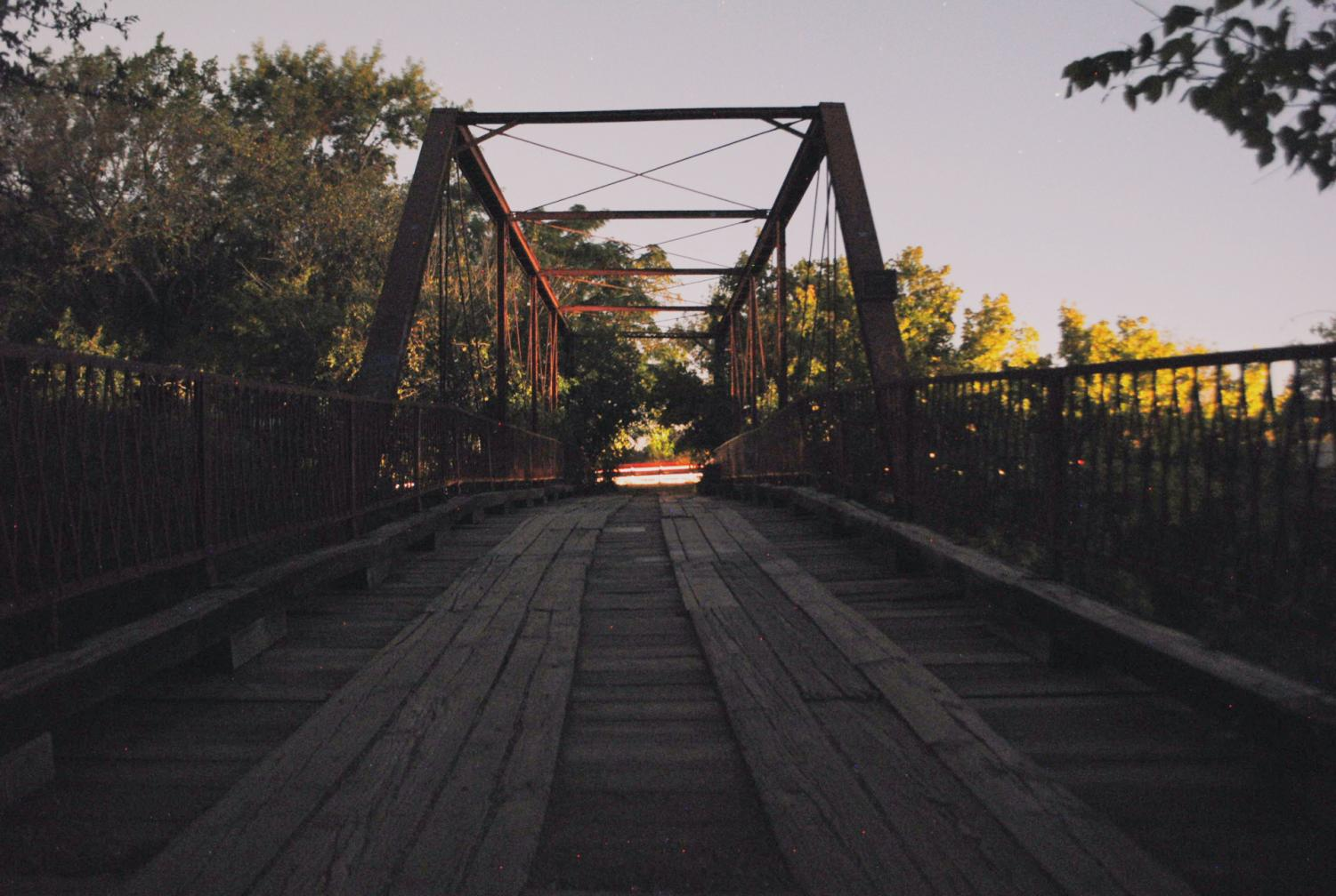 View of Old Alton Bridge at dusk, also known as the Goatman Bridge.