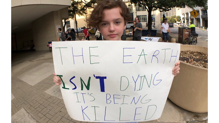 Sophomore Libby Connolly at the Climate Strike.