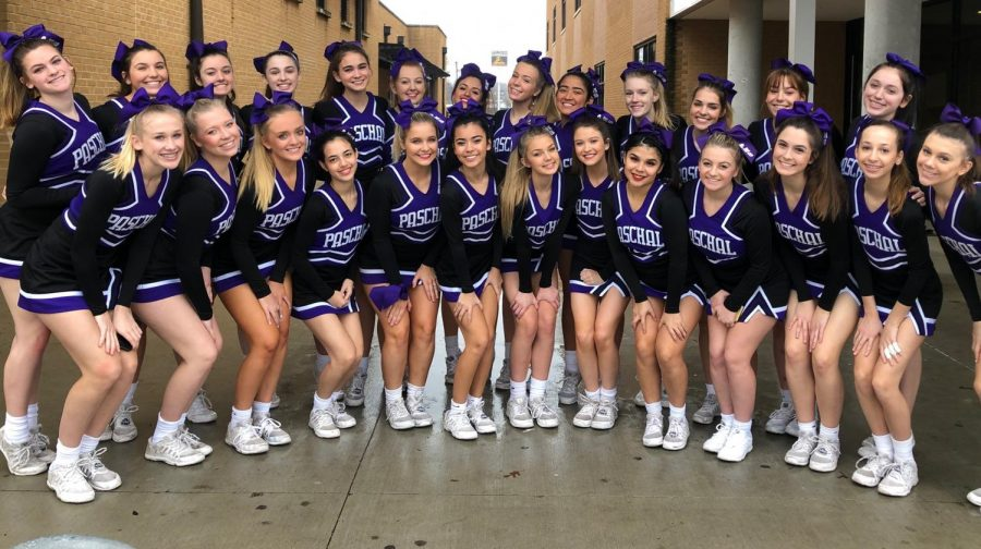 Cheerleaders right before they left school to compete at UIL state competition.