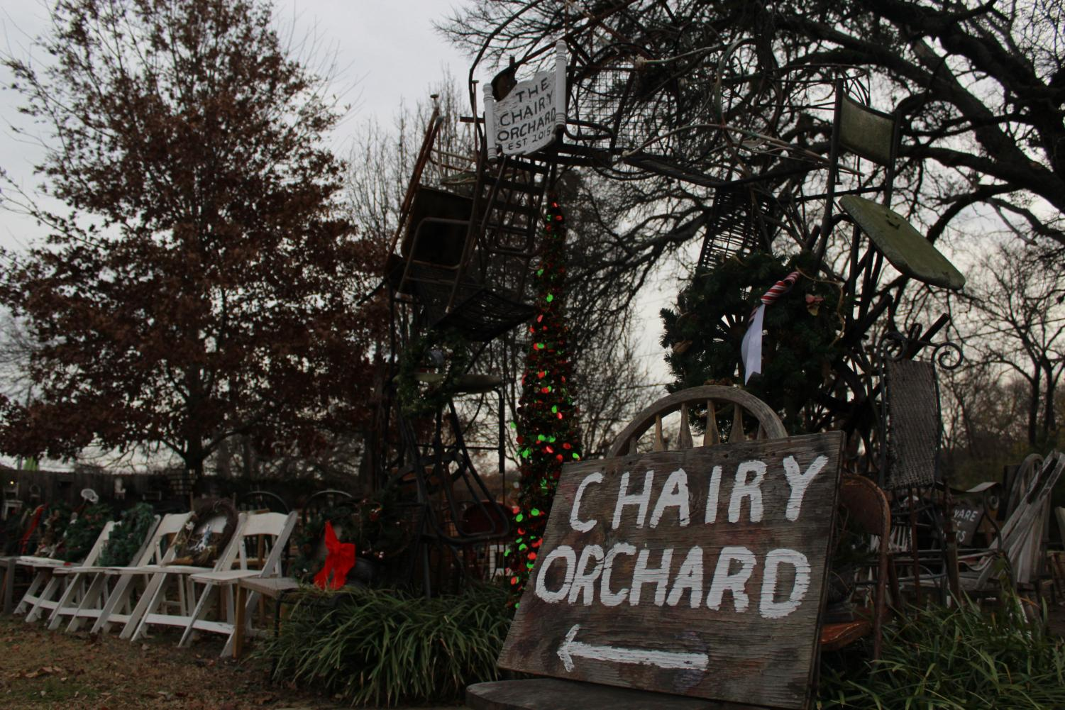 The Chairy Orchard created in 2005 by Judy Smith and Anne Pearson outside of Denton.