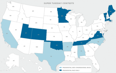 Map of States voting in the primary election on March 3rd, termed Super Tuesday.