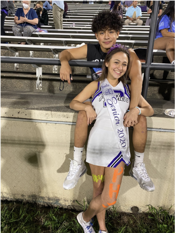 Seniors Alexandra Lacombe and Xavier Deluna at the Senior Night football game.