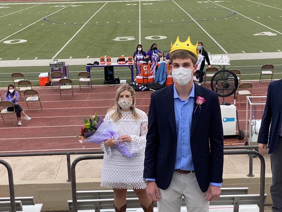 Homecoming King Connor Hayes after being crowned. Homecoming Queen Destiny Castro was not in attendance.