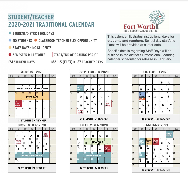 FWISD Calendar through January