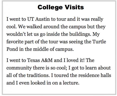 College Visit Stories!!